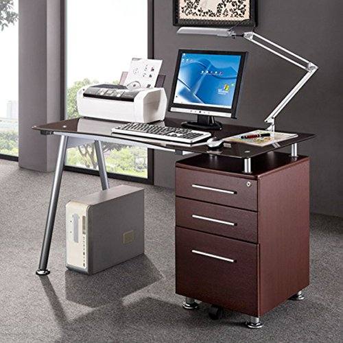 Tempered Glass File Cabinet (Modern Design Office Locking File Tempered Glass and Steel Cabinet Computer Desk)