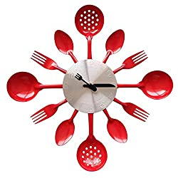 ZHPUAT 14 Inch Stainless Steel Housewares Cutlery Indoor/Outdoor Wall Clock Red