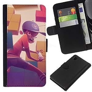KingStore / Leather Etui en cuir / Sony Xperia Z1 L39 / Pintura Boy Gaming Computer Sombrero Arte Niño