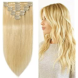 """10""""-24"""" 70g-120g Clip in Remy Human Hair Extensions Full Head 8 Pieces Set Short/Long length Straight Very Soft Style Real Silky for Beauty (10""""-70g, #613 Bleach Blonde)"""