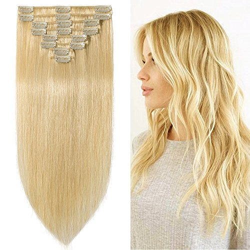 """Price comparison product image Clip in Hair Extensions Human Hair Full Head 8 Pieces 18 Clips 100% Real Silky Human Hair 20""""-105g Bleach Blonde (#613)"""