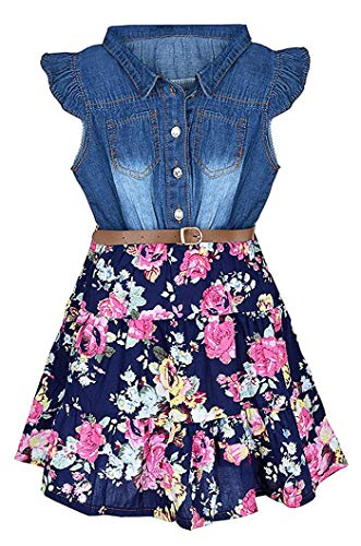 Girls Denim Dresses (BGIRNUK Girl Denim Dress Sleeveless Floral Princess Skirt Dresses 311 120)