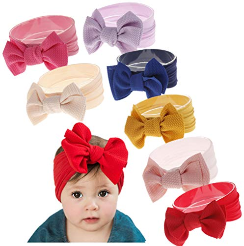 Qandsweet Baby Girl's Headbands and Bows Hair Accessories (7Pcs - Girl Baby Red