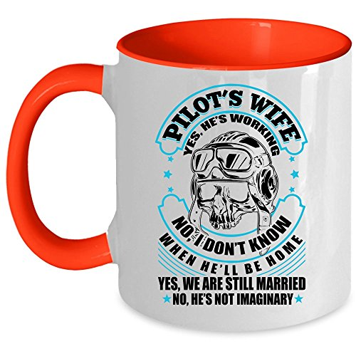 Gift For Pilot Coffee Mug, Pilot's Wife Accent Mug (Accent Mug - Red)