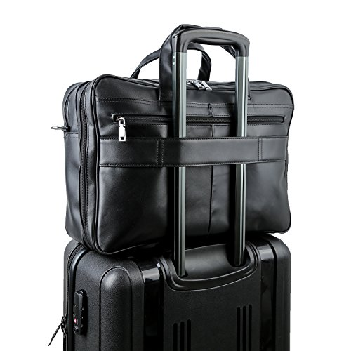 Polare Men's Real Leather Professional 17.7'' Briefcase Shoulder Messenger Business Bag by Polare (Image #5)