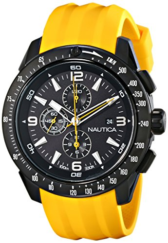 Nautica Men's N18599G NST 101 Stainless Steel Watch with Yellow Resin Band (Nautica Men Watches Black)