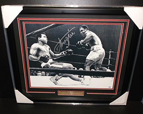 Joe Frazier Vs Muhammad Ali Autographed 16x20 Framed Photo Coa - PSA/DNA Certified - Autographed Boxing Photos (Joe Frazier Autograph)