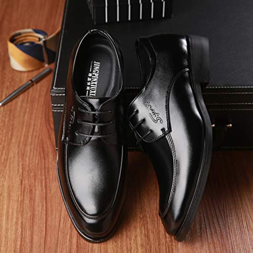 Mens Black Dress Shoes Pointed Toe Classic Formal Oxford Shoes by Phil Betty (Image #5)