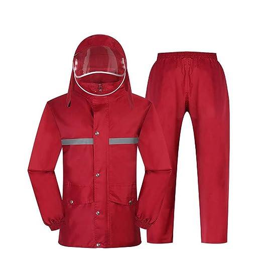 rojo Capa de lluvia moto Traje de pantalón impermeable Traje ...