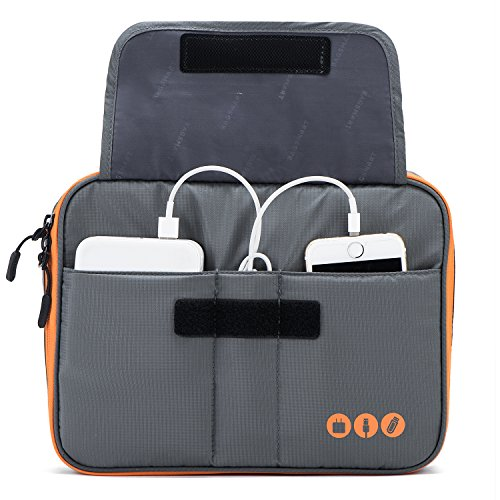 BAGSMART Universal Travel Cable Organizer Case Electronics Accessories Carry Bag for 9.7 inch iPad, Kindle, Power Adapter, Mac Book Charger, Grey