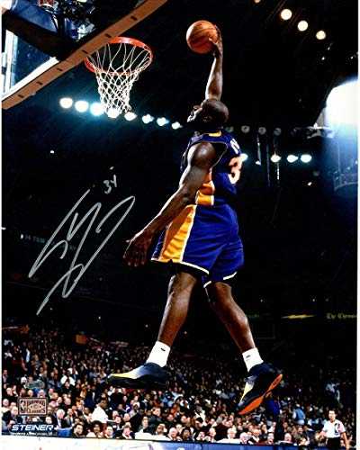 Shaquille O'Neal signed Lakers Dunk in Purple 16x20 Photo - Steiner Sports Certified - Autographed NBA Photos