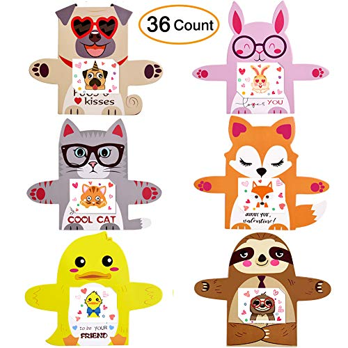 Tattoo Valentines Cards (Valentine's Day Cards for Kids Valentines Cards Set with Animal Designs Temporary Tattoos and Envelopes School Supplies Children Party Favors-36)