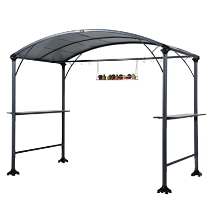Abba Patio 9u0027 X 5u0027 Outdoor Backyard BBQ Grill Gazebo With Steel Canopy,