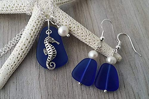 """""""September Birthstone"""", cobalt Sapphire blue sea glass necklace + earrings jewelry set, fresh water pearl, seahorse charm, sea glass jewelry, FREE gift wrap, FREE gift message, FREE shipping"""