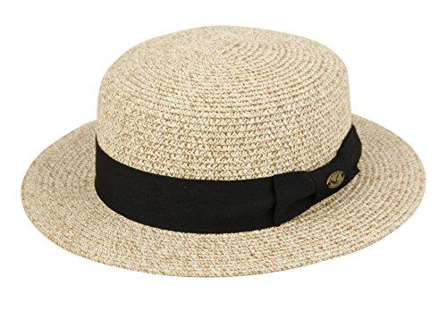 [Men's Summer Boater Straw Pork Pie Derby Fedora Flat Top Gambler Hat Natural] (Sailor Straw Hat)