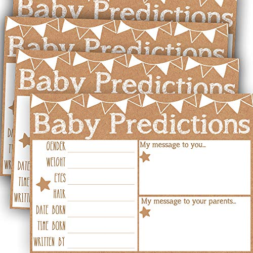 Baby Prediction and Advice Cards, Baby Shower Predictions, Baby Shower Game Advice Cards for Girl or Boy, Pack of 50 Extra Large 5x7 Cards for Baby Shower or Gender Reveal Party