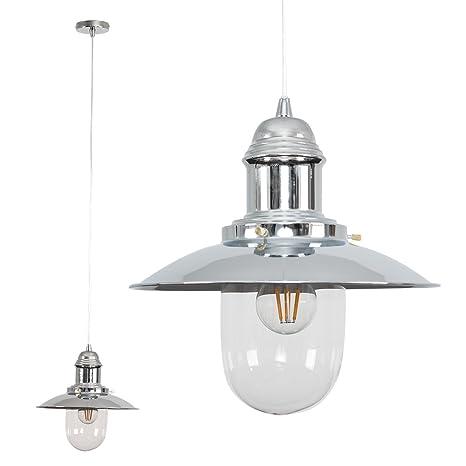 MiniSun Lámpara de techo de cristal, diseño moderno, color plateado cromado, diseño de pescador
