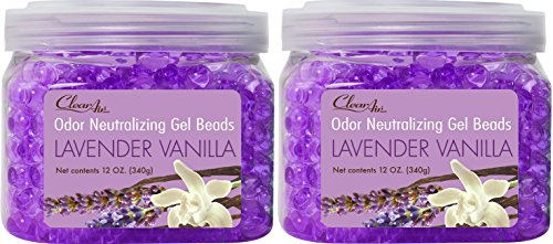 Clear Air Odor Eliminator Gel Beads - Eliminates Odors in Bathrooms, Cars, Boats, RVs and Pet Areas - Air Freshener Made with Natural Essential Oils - 2 Pack (2 x 12 OZ) (Lavender Vanilla) ()