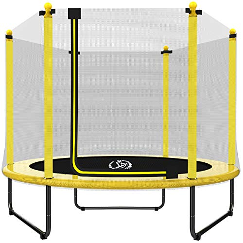 LANGXUN 5Feet Outdoor & Indoor Trampoline with Enclosure net and Safety Jumping Mat Cover | Birthday Gifts for Kids, for Boy and Girl (Yellow, 2019 Upgrade)