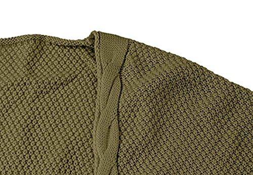 Cardigan Lana Moda Anchos Outerwear Invierno Manga Con Punto Sweater Retro Elegantes Grau Bolsillos Casual Color Cómodo Largo Pullover Dunkel Mujer Otoño Joven Sólido Jersey Jerseys tEwHTq7E