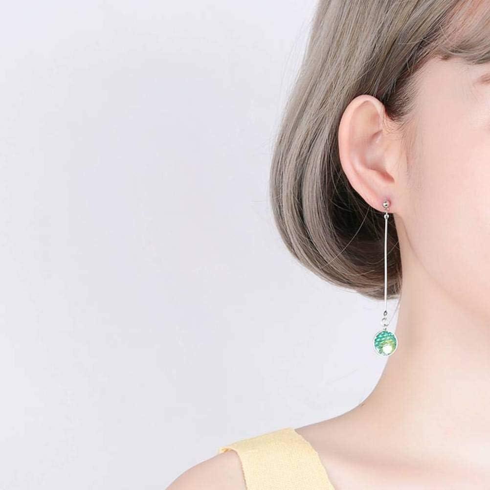 Pendientes Largos de Borla Asimétricos de Estilo Coreano para Mujer S925 Pendientes de Cristal de Escama de Pescado de Plata Esterlina, WOZUIMEI, Como se muestra