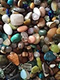 Cocoas Beads Variety Mix of Gemstones/Semi Precious Stones 4mm-25Focal Pieces, Turquoise,tiger Eye, -Hole Drilled Beads for Jewelry Making (Small to XL) T