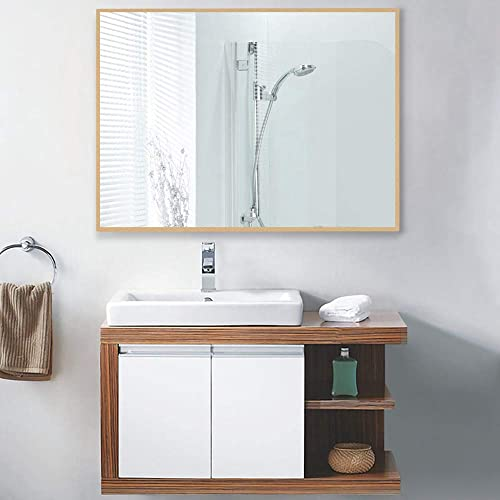 LINSGROUP Large Modern Wall-Mounted Frame Mirror Rectangle Hangs Horizontal or Vertical for Bedroom Bathroom Living Room 32 X24 , Golden