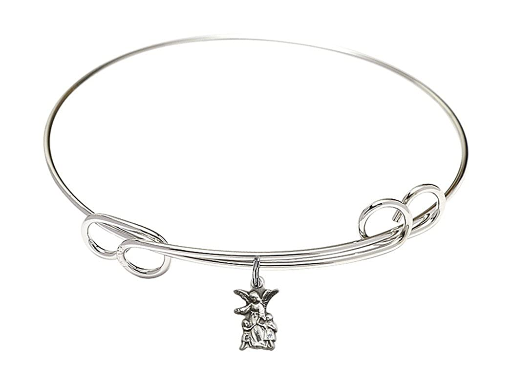 Rhodium Plate Double Loop Bangle Bracelet with Guardian Angel Silhouette Charm 8 Inch