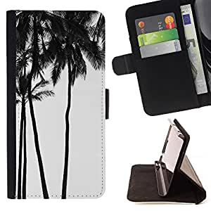 Palm Trees Black White Photo Sky - Painting Art Smile Face Style Design PU Leather Flip Stand Case Cover FOR Samsung Galaxy Note 3 III @ The Smurfs