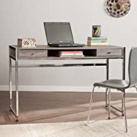 Southern Enterprises Norcross Writing Desk 49 Wide, Weathered Gray Finish and Chrome Base