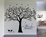 """LSKOO Family Photo Frame Tree Wall Decals Family Tree Decal Family Like Branches on a Tree Room Home Decor (108"""" wide x 84"""" tall) (Black)"""