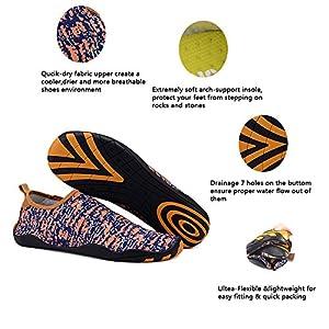 UNN Multifunctional Quick-Dry Barefoot Water Skin Shoes Flexible Aqua Socks for Beach Swim Surf Yoga Exercise Orange 8.5-9