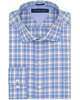 Tommy Hilfiger Men's Regular Fit Dress Shirt, Blue Multi Check, 15.5 34/35