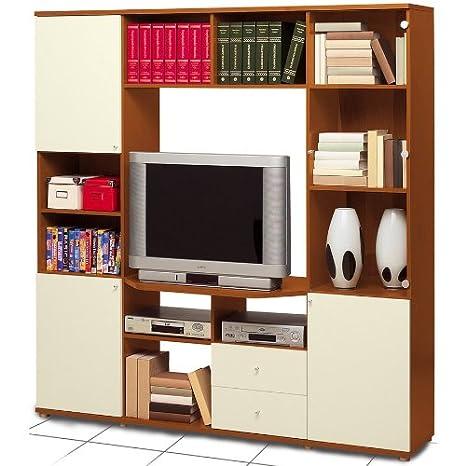 Parete muro soggiorno salotto porta tv mobile ciliegio panna HT7540 ...