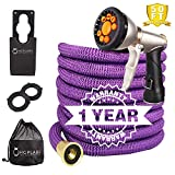 10. Expandable Hose -Collapsible Hose- Flexible Hose -Light Weight Garden Hose 50FT-Heavy Duty Retractable Hose Commercial Purple Hose -Pressure Washer Hose with Metal Gun and Bonus washers