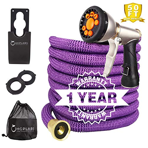 Expandable Hose -Collapsible Hose- Flexible Hose -Light Weight Garden Hose 50FT-Heavy Duty Retractable Hose Commercial Purple Hose -Pressure Washer Hose with Metal Gun and Bonus washers