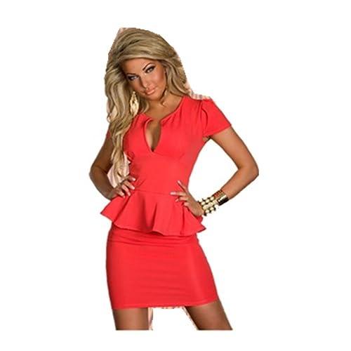 Vestido de fiesta Lemandy Elegante Escote En V corto al aire libre (M, Rojo