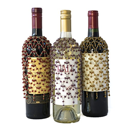 Gold, Purple, and Red Double Dangle Wine Bottle Cover Collection, Set of 3 Beaded Wine Skirts