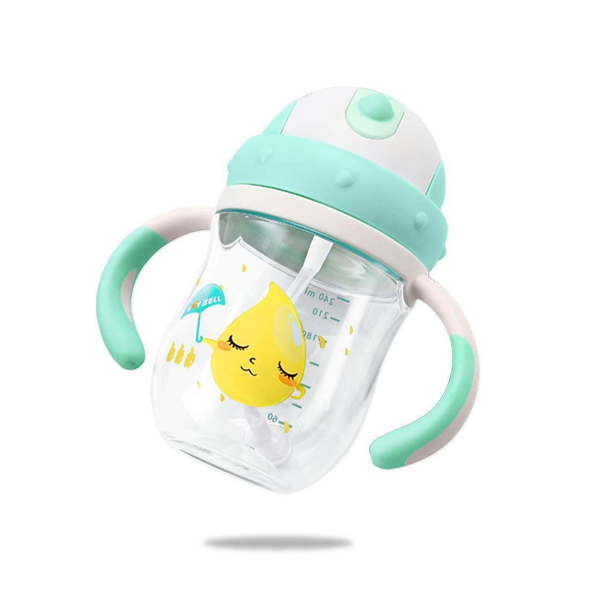 Gr/ün SONARIN Premium transparent Baby Stroh Cup Sippy Tassen Baby Schnabeltassen mit Griffen,Mit Schl/üsselband,Trinklernbecher,BPA frei,360 Grad,240ML