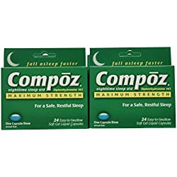 Compoz Nighttime Sleep Aid, Maximum Strength, Soft Gel Liquid Capsules, 24 Count (Pack of 6)