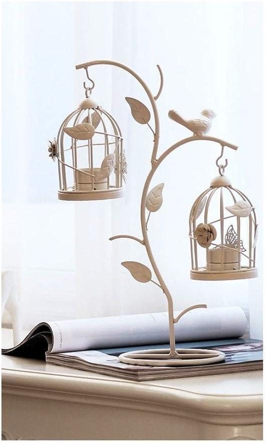 ホワイトバードケージローソク足の装飾、ウェディングキャンドルデコレーションヨーロッパのレトロ鳥かごキャンドル燭台ロマンチックなディナーテーブルカフェホームデコレーションデコレーション (Color : White)