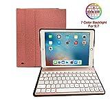 FREECUBE iPad Keyboard Case for New 2018 iPad - 2017 iPad - iPad Pro 9.7 - iPad Air 1 and 2 - BT Backlit Detachable Quiet Keyboard - Slim Leather Folio Cover - 7 Color Backlight - Apple Tablet