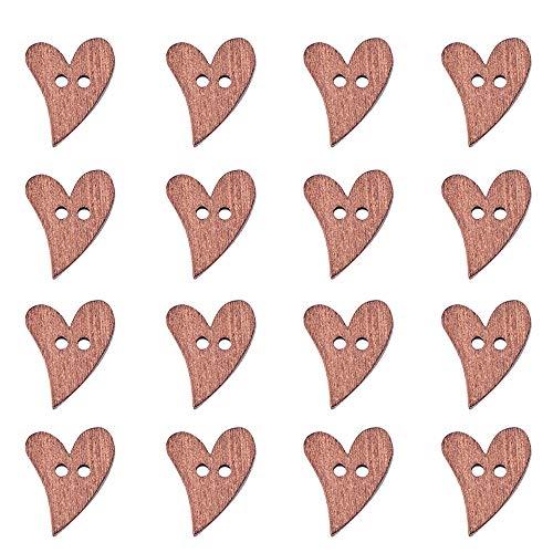 Pandahall 1 Bag 100pcs Heart Shaped Sienna Paint Buttons Wooden Buttons, about 20mm long, 16mm wide,Hole:2mm