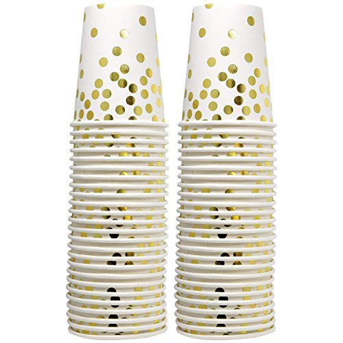 (50 Gold Dot Disposable Cups 9 oz Paper Drinking Cup for Party Wedding Elegant Fancy Decorations Holiday Anniversary Birthday Supplies Bachelorette Baby Shower)