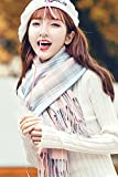 Generic Japanese schoolgirl Korean winter thick warm plaid scarf shawl fringed white blue College Wind