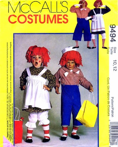McCall's 9494 Sewing Pattern Childrens Raggedy Ann Andy Costumes Size 10 - 12]()