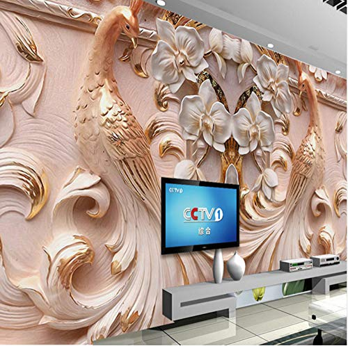 3D Wall Decorations Stickers Murals Wallpaper Personalized Graphic Relief Peacock Butterfly Background Floral Living Room Art Kids Kitchen (W)300X(H)210Cm
