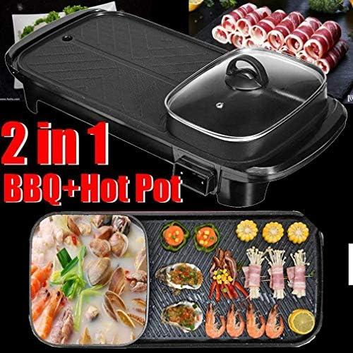 KOIUJ 2in1 Hot Pot et électrique Grill intérieur Cuisson Plat Double saveur Pan Hotpot Smokeless Barbecue Grill Plat crêpière Egg antiadhésif rôti
