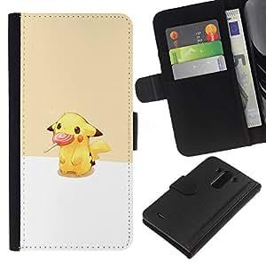 NEECELL GIFT forCITY // Billetera de cuero Caso Cubierta de protección Carcasa / Leather Wallet Case for LG G3 // Pikachu Lollipop