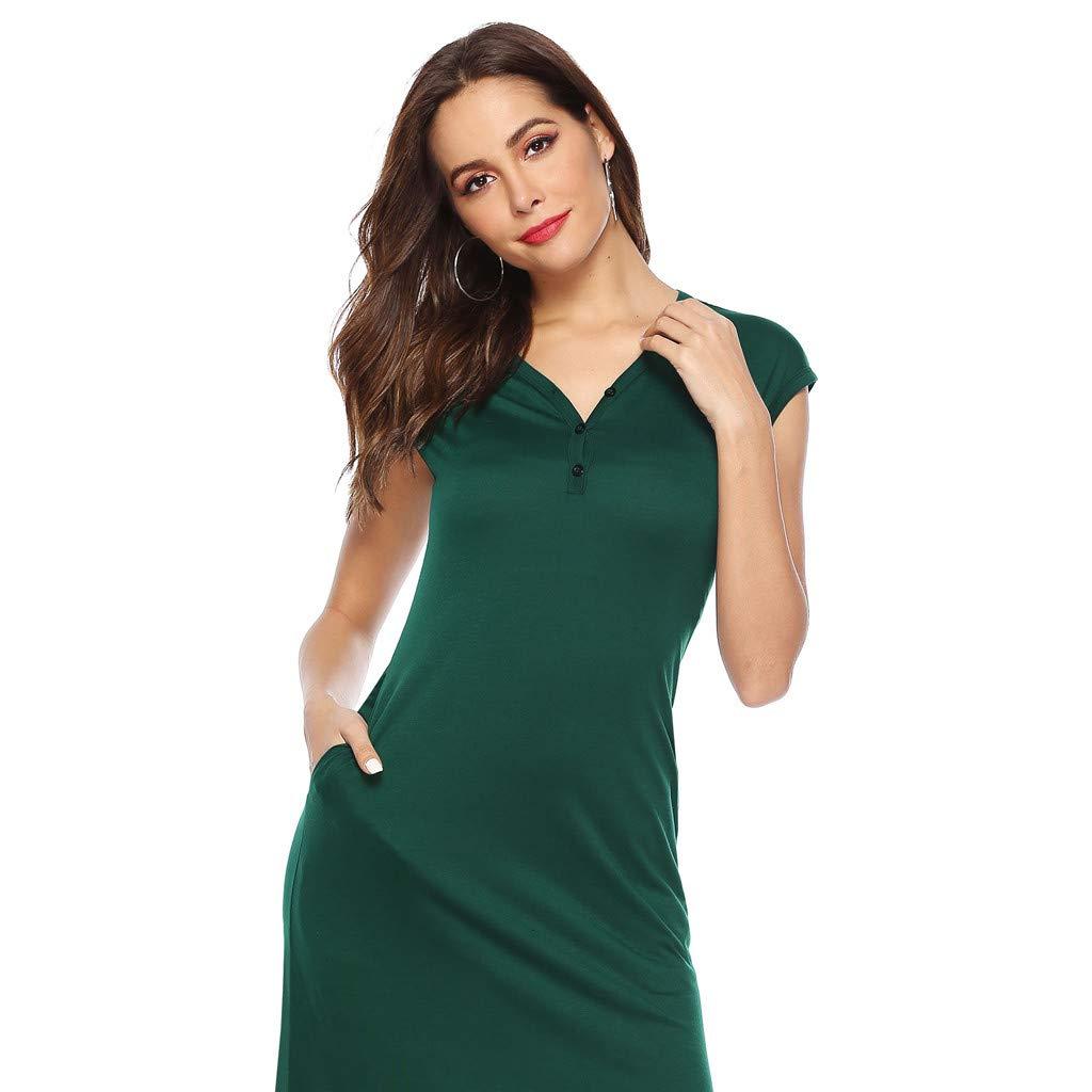 LEERYAAY Women Casual V-Neckline Solid Boho Dress Flounce Dress Short Sleeve Pocket Dress